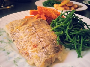 Hake with Steamed Samphire and Sweet Potato