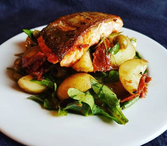 Sea Trout with Potatoes, Sun Dried Tomatoes and Olive Salad